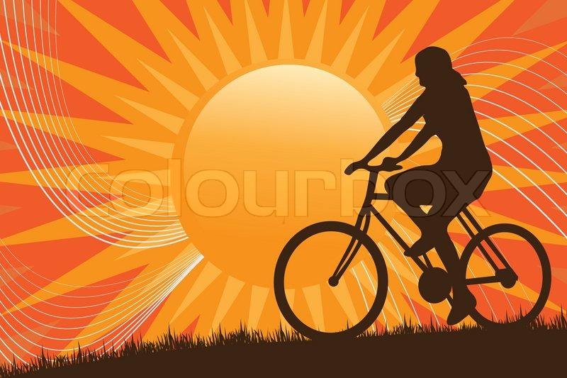 eine silhouette einer person mit dem fahrrad vor der sonne vektorgrafik colourbox. Black Bedroom Furniture Sets. Home Design Ideas