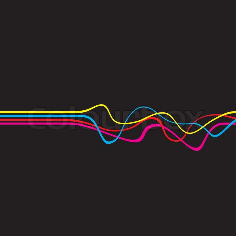 abstract layout with wavy lines in a cmyk color schemethis vector