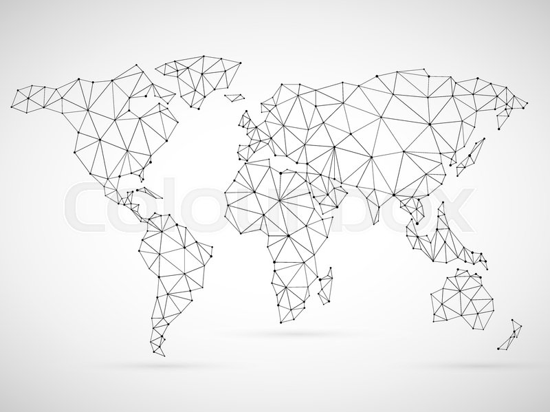 Polygonal world map made of black mesh grid on white background polygonal world map made of black mesh grid on white background stock vector colourbox gumiabroncs Gallery