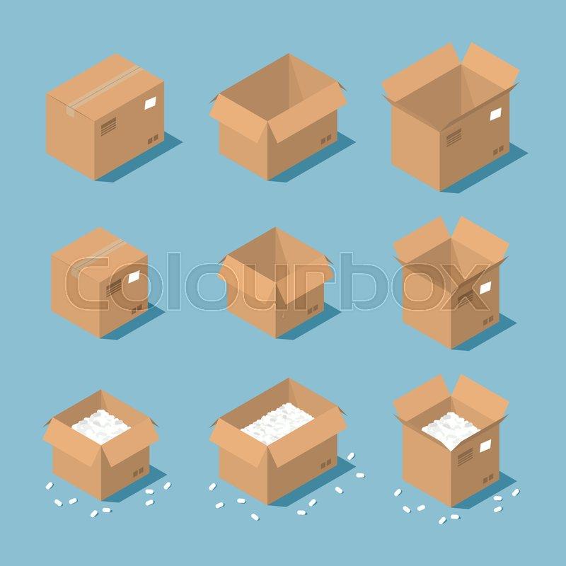 8ae88e24d4c Vector isometric cardboard box set. ...