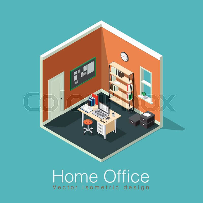 Home Office Concept Isometric Vector Illustration. Isometric Side View  Interior Home Office Room With Bookshelf, Desk, Notes Board, Clocks, Box,  Chair, ...