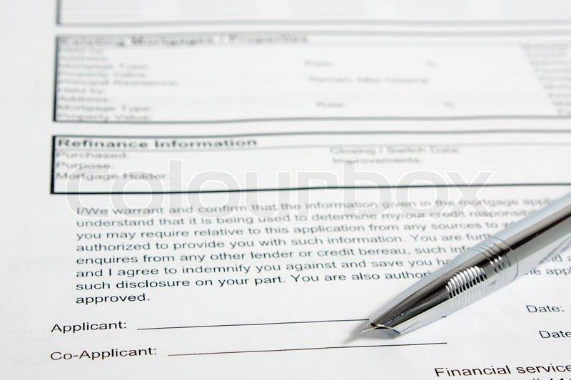 Blank Hypothek Anwendung und Metall Füllfederhalter | Stockfoto ...
