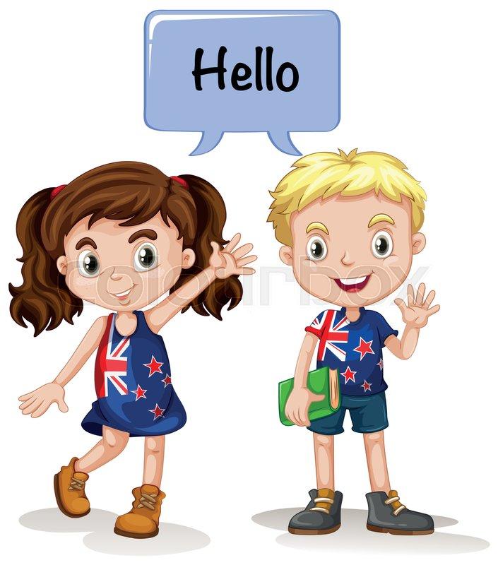 australian boy and girl saying hello illustration stock vector