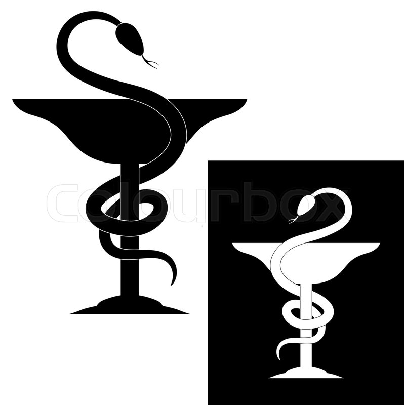Pharmacy Symbol Medical Snake And Cup Vector Emblem For Drugstore
