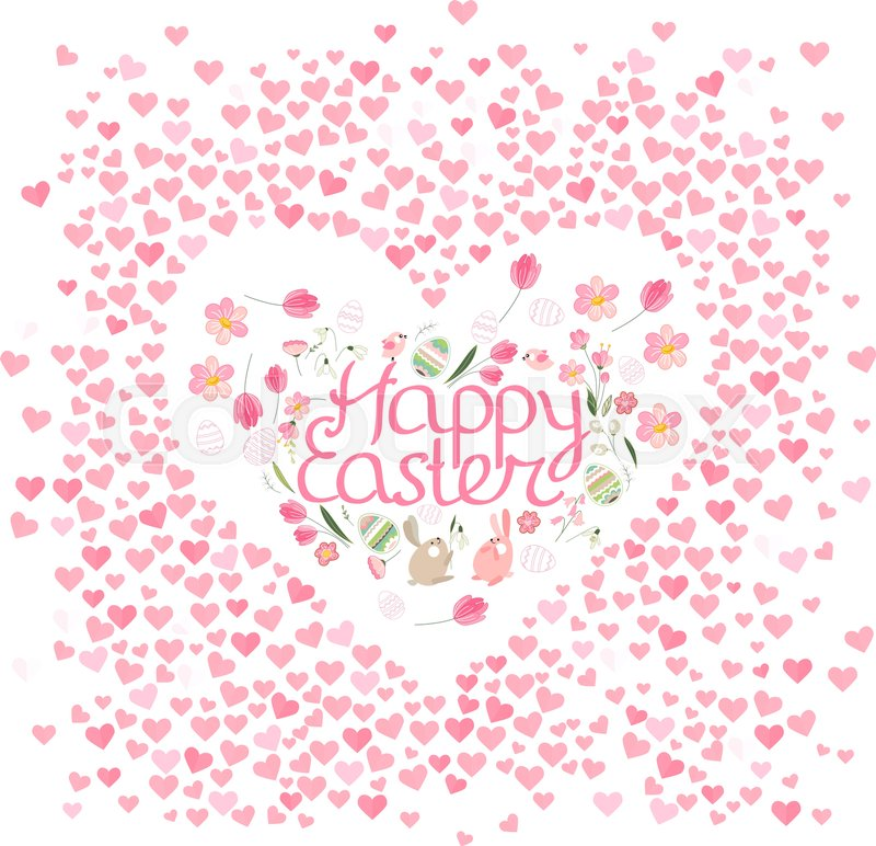 Frame with pretty small hearts and phrase Happy Easter. Festive ...