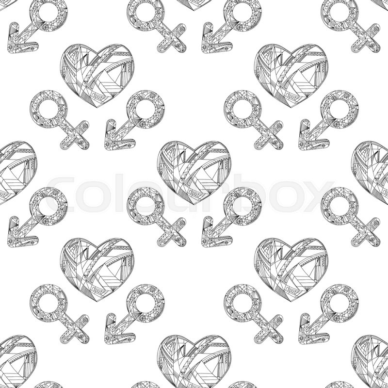 Vector Abstract Male And Female Gender Signs And Heart Pattern Hand