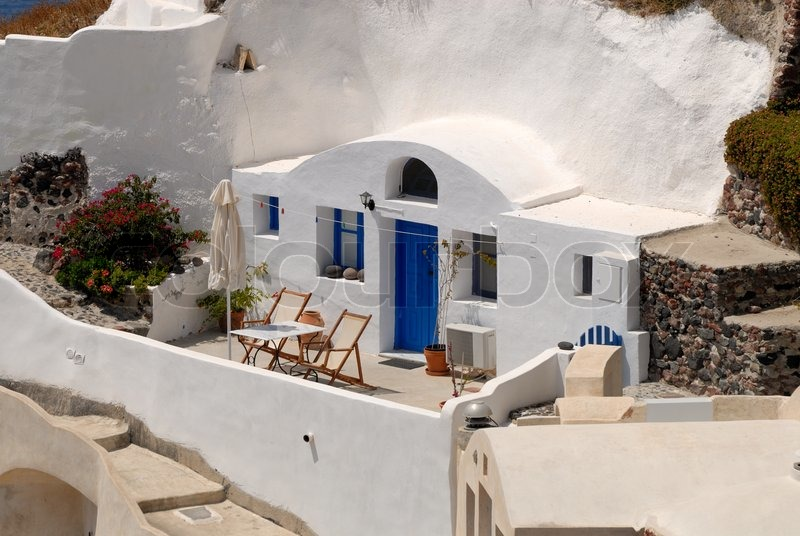 Traditional Greek House traditional house in santorini, greece | stock  photo | colourbox
