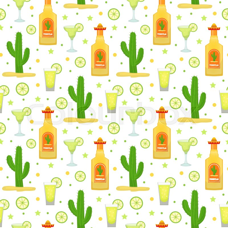 Cinco De Mayo Seamless Pattern With Tequila And Cactus Mexican Holiday Endless Background Texture Vector Illustration