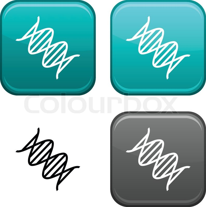 Dna Vector Black Dna Square Buttons Black Icon