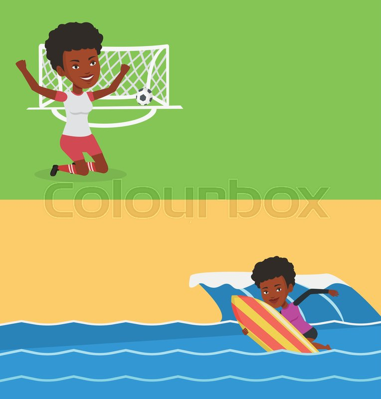 Two sport banners with space for text. Vector flat design. Horizontal layout. African-american surfer having fun during execution of move on wave. Surfer in action on a surf board. Water sport concept, vector
