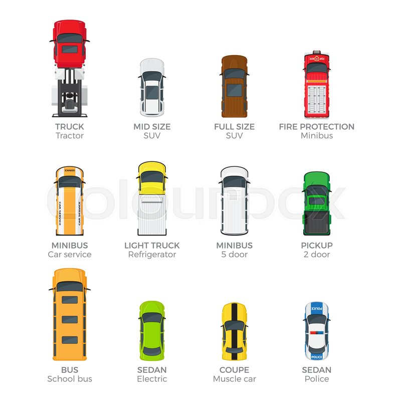 Modern Cars Top View Icons Set Stock Vector Colourbox