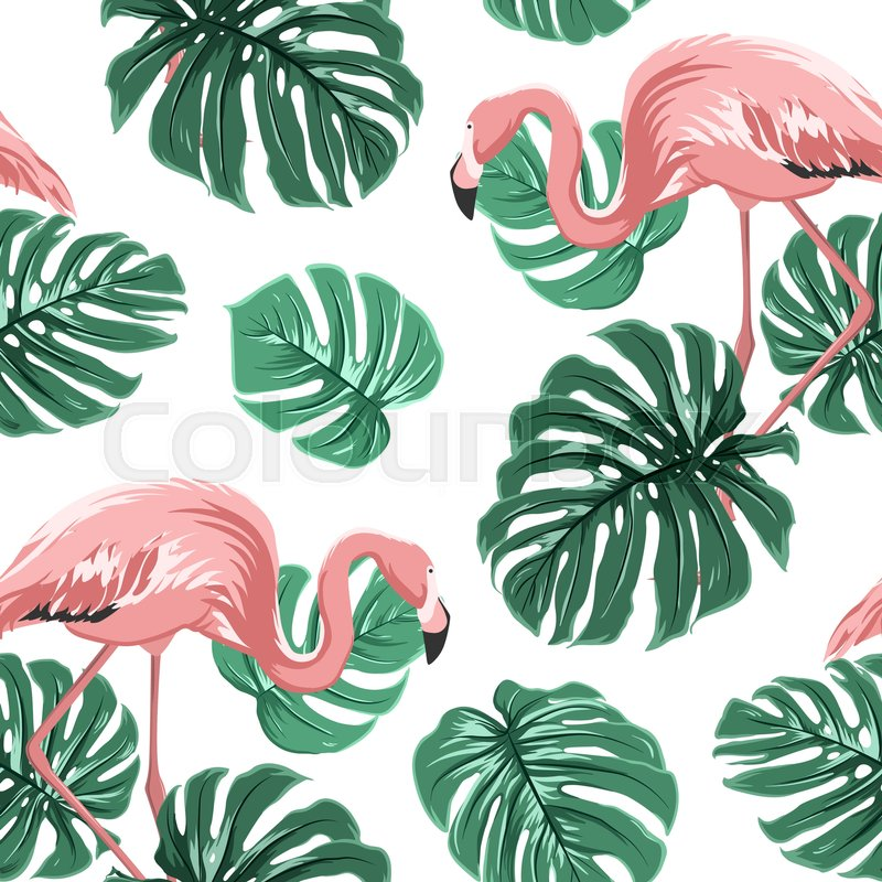 Pink Flamingo Birds And Turquoise Green Monstera Leaves
