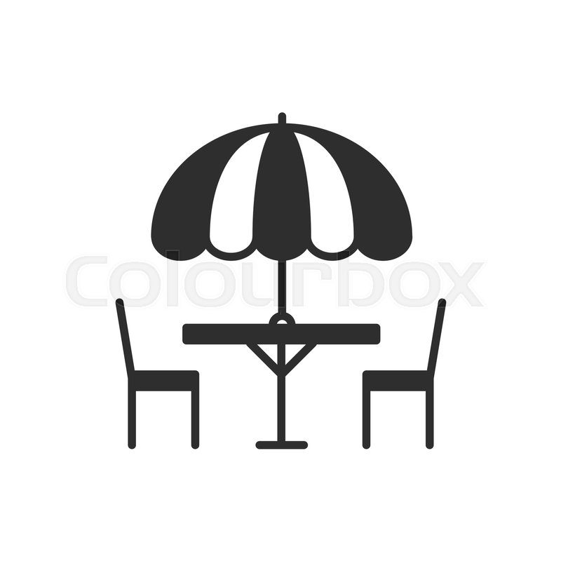 Thin Line Icons Set Table And Chair Outside Outdoors