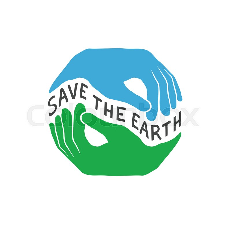 Save The Earth Earth Day Concept Logo Design Template Hands Hold