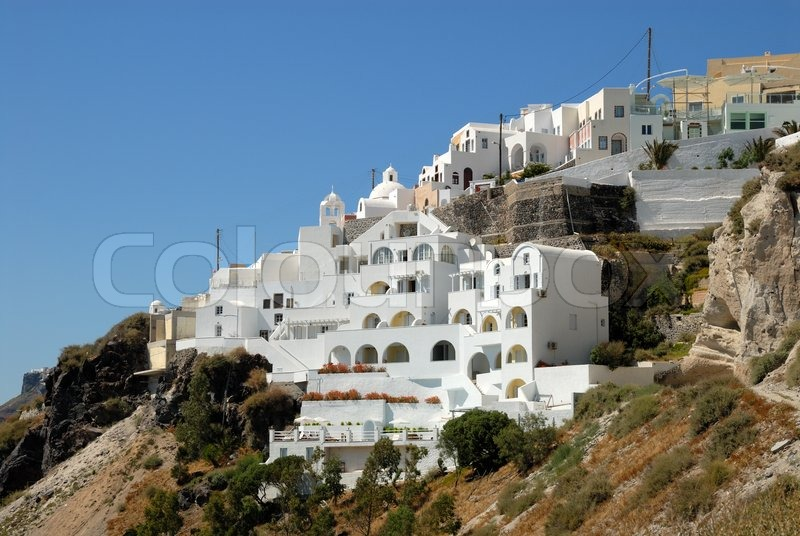 wei e h user in thira santorini griechenland stockfoto colourbox. Black Bedroom Furniture Sets. Home Design Ideas