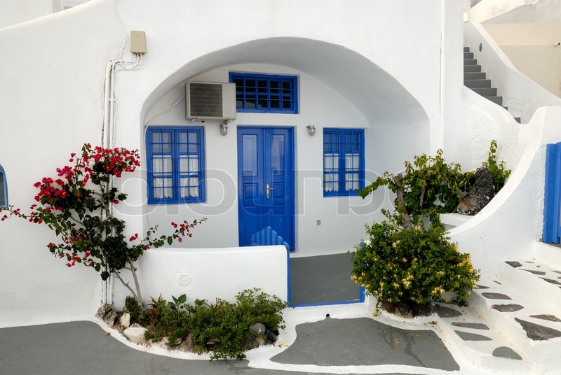 Traditional Greek Houses traditional house in santorini, greece | stock photo | colourbox