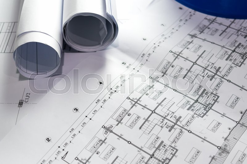 Engineering diagram blueprint paper drafting project sketch engineering diagram blueprint paper drafting project sketch architecturalselective focus stock photo malvernweather Image collections
