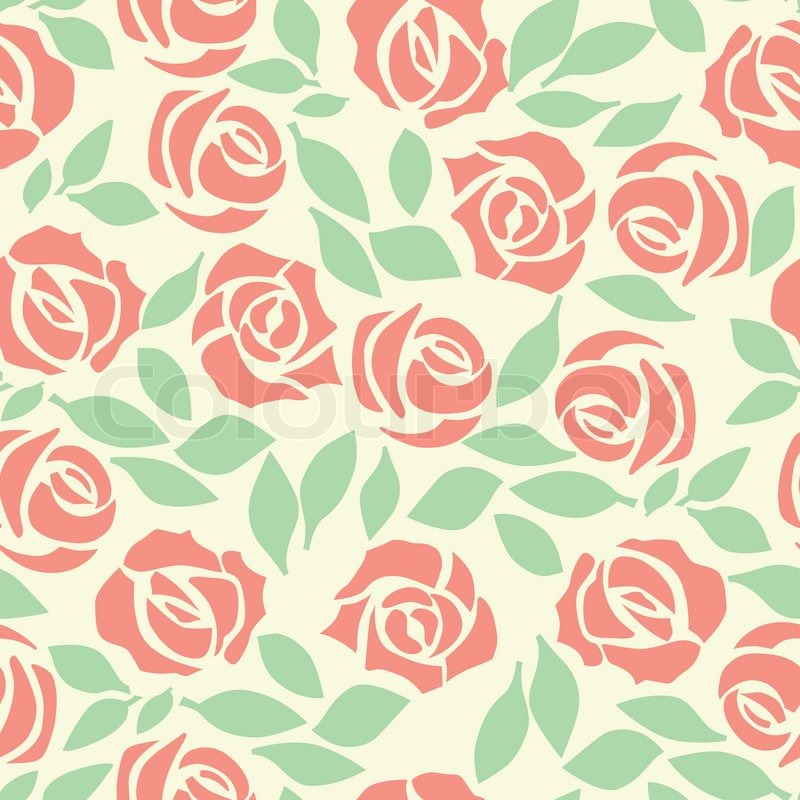 Vector rose seamless flower background pattern, floral