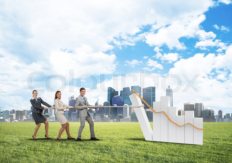 Businessteam working in collaboration making diagram grow and progress, stock photo