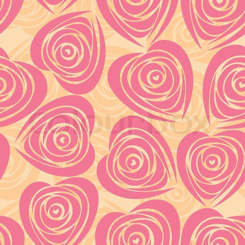 Pink Art Vector Heart Rose Pattern Seamless Flower Background Fabric Texture Floral Vintage Design Pretty Cute Wallpaper Romantic Cartoon Feminine