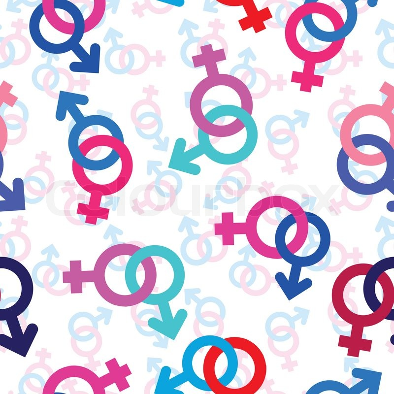 Vector Seamless Gender Background Male Female Symbol Pattern