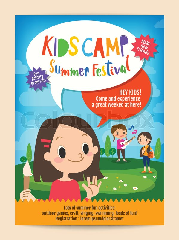 Kids summer camp education advertising poster flyer template | Stock ...