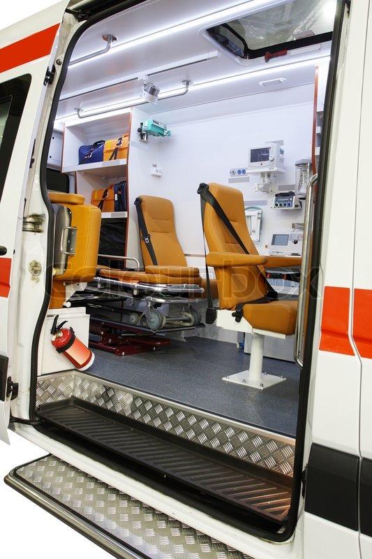 interior of an empty ambulance car stock photo colourbox. Black Bedroom Furniture Sets. Home Design Ideas