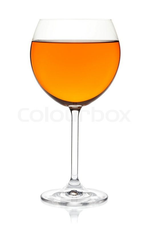 Orange Color Drink In Wine Glass Isolated On White