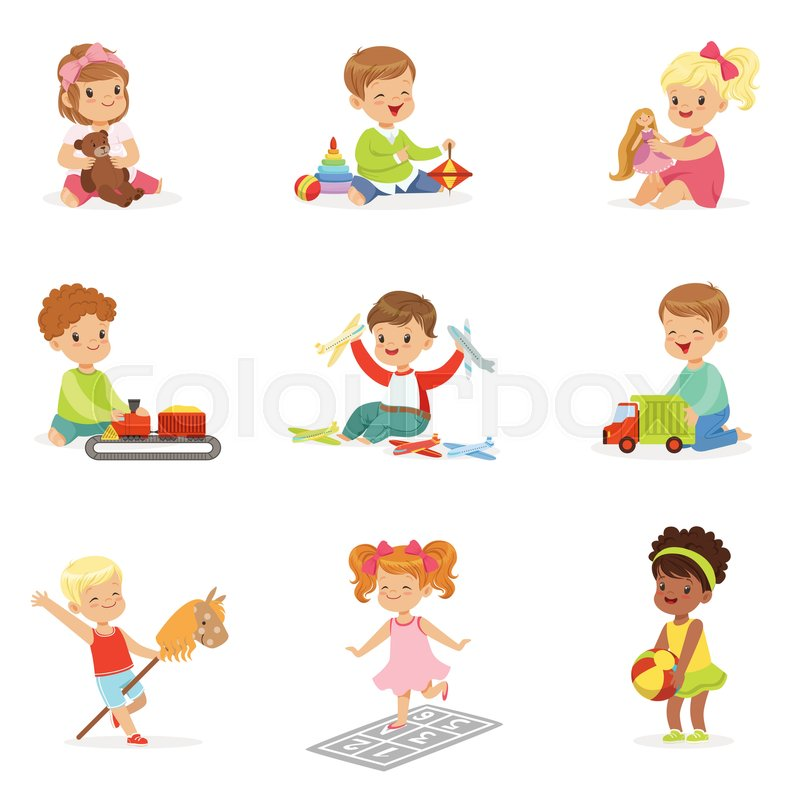 Toys And Games Clip Art : Cute children playing with different toys and games having