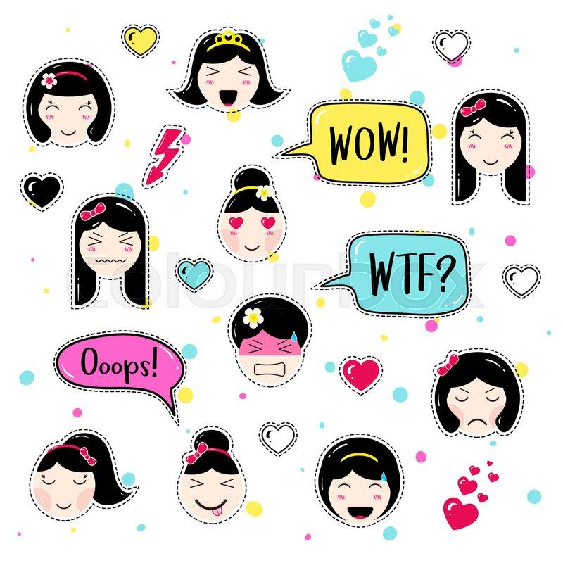 Set of cute patch badges  Girl emoji     | Stock vector
