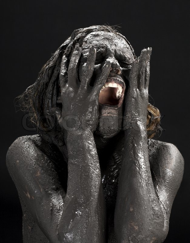 Picture Of Crying Dirty Woman Over Black  Stock Photo -2405