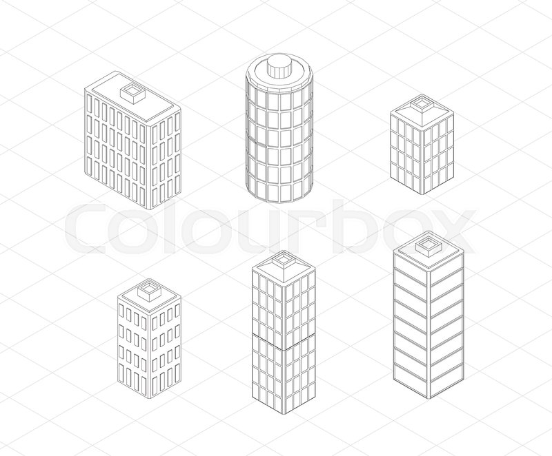 Vector isometric buildings set. Skyscrapers icons. Big city ...