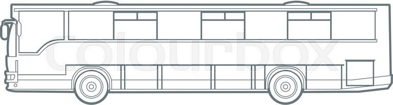Outline vector city bus illustration. side view | Stock ...