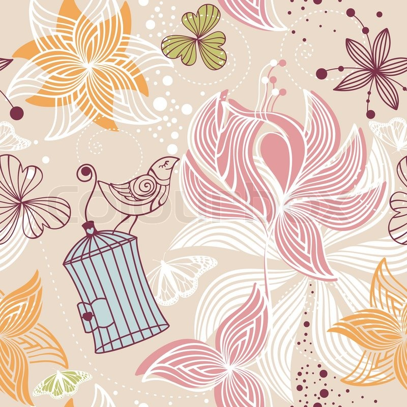 Abstract seamless cute floral background vector for Cute abstract art