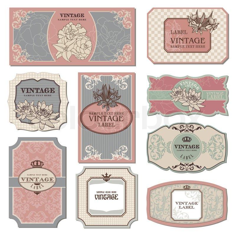 Satz von retro vintage vektorgrafik colourbox - Vintage bilder kostenlos ...
