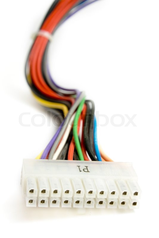 Marking colored electric cable for the power supply unit | Stock ...