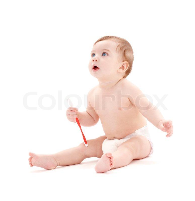 Baby in Diaper Walking Picture of Baby Boy in Diaper