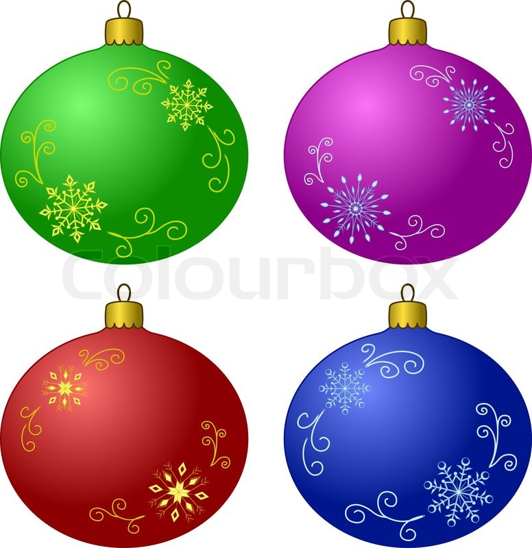 Vector Christmas Tree Decoration Set Glass Balls With Snowflakes