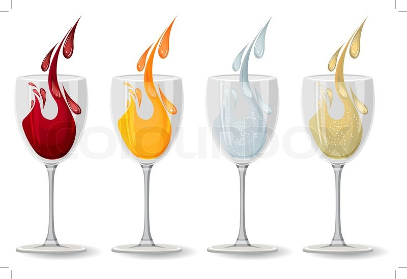 Stock And Vector champagne Wine With Juice Colourbox Glasses