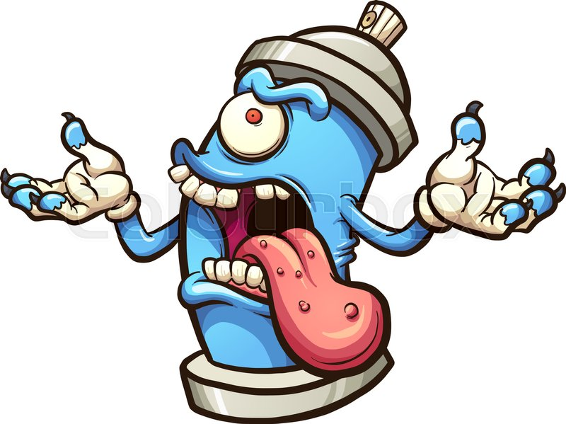monster graffiti spray can vector clip art illustration with simple