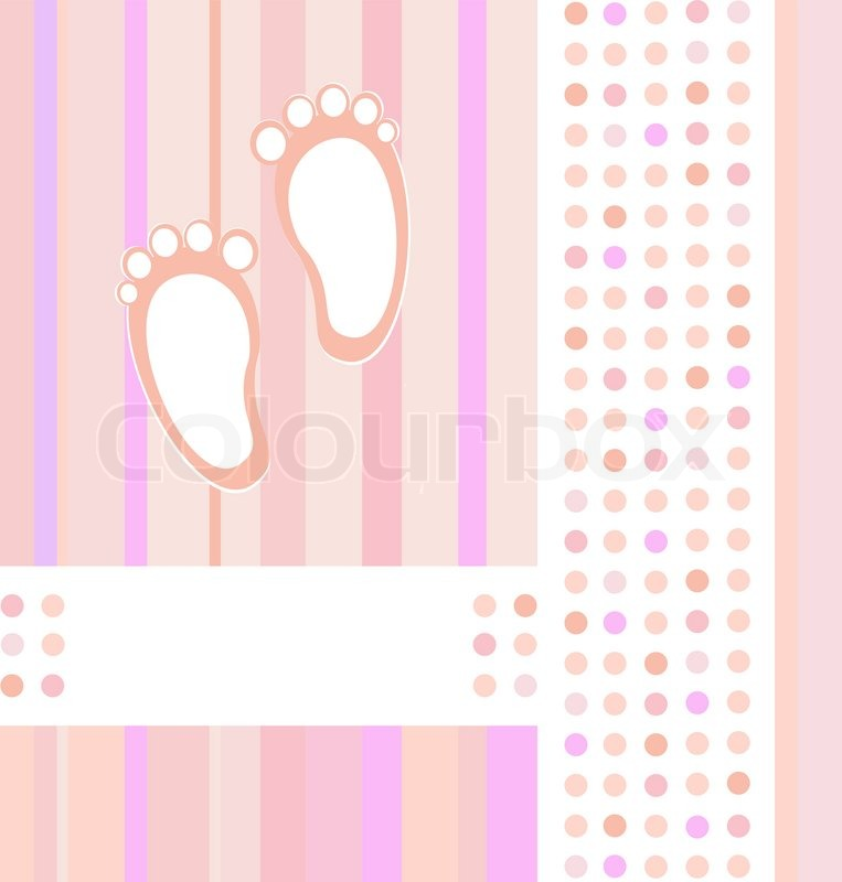 Baby Girl Announcement Card Background Wallpaper Vector Illustration