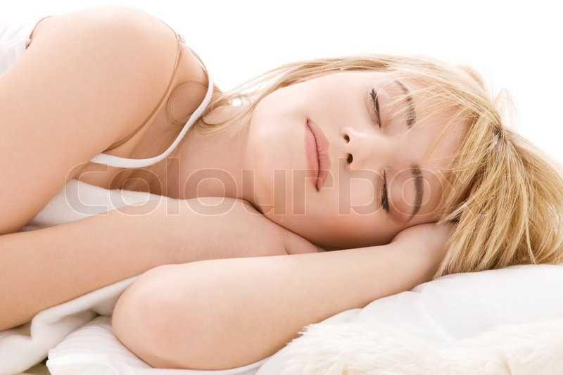 Stock image of 'Bright closeup picture of sleeping teenage girl'