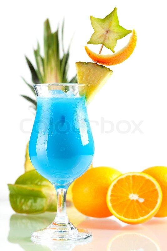 Blue Hawaii Tropischen Cocktail Mit Ananas Und Karambole