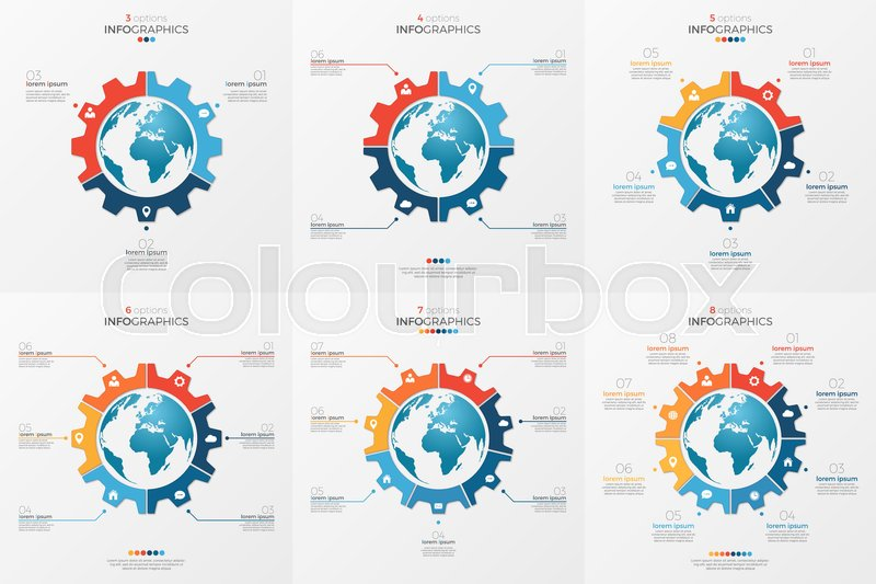 set of gear wheel style chart template with globe inside for