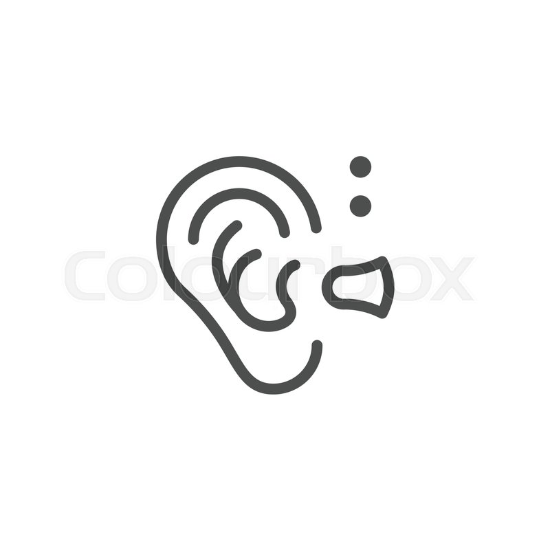 Hearing Aid Line Icon Isolated On White Vector Illustration Stock