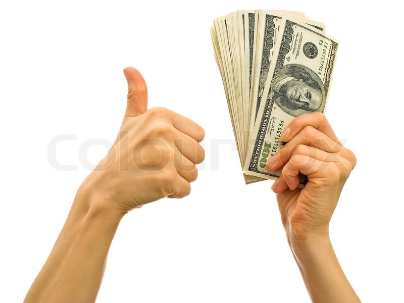 Bundle Of Money In The Hand Symbol Of Success In Business Stock