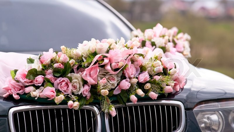 Wedding car decorated with bunch of flowers stock photo colourbox junglespirit Choice Image