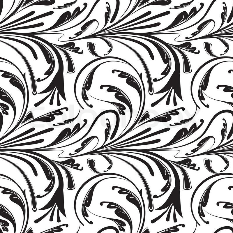 Seamless Floral Background Of Black And White Vector