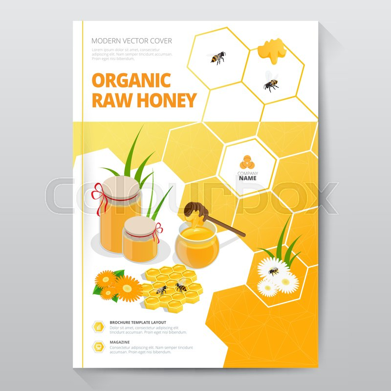 Organic Raw Honey Designe Brochure Abstract Composition
