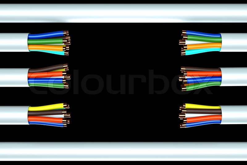 A wire background, broken ethernet cable | Stock Photo | Colourbox